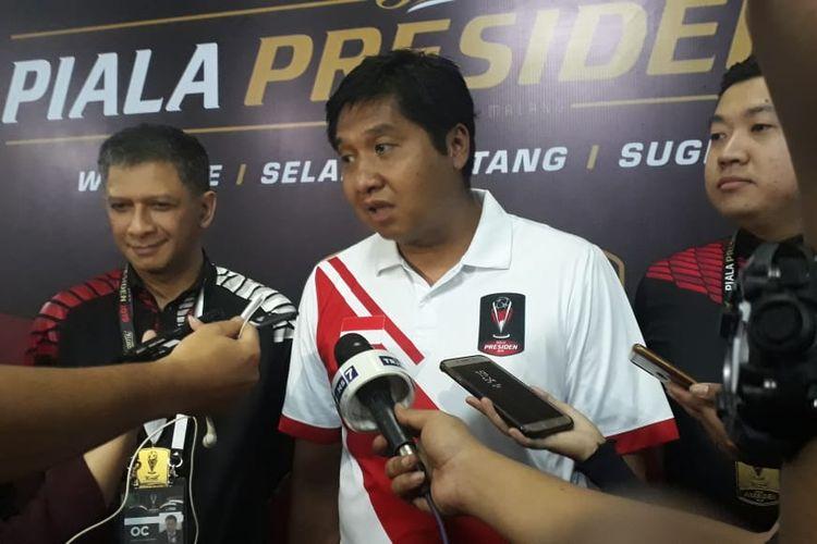 Maruarar Sirait, Ketua SC Piala Presiden 2019, di Stadion Kanjuruhan, Jumat (12/4/2019).