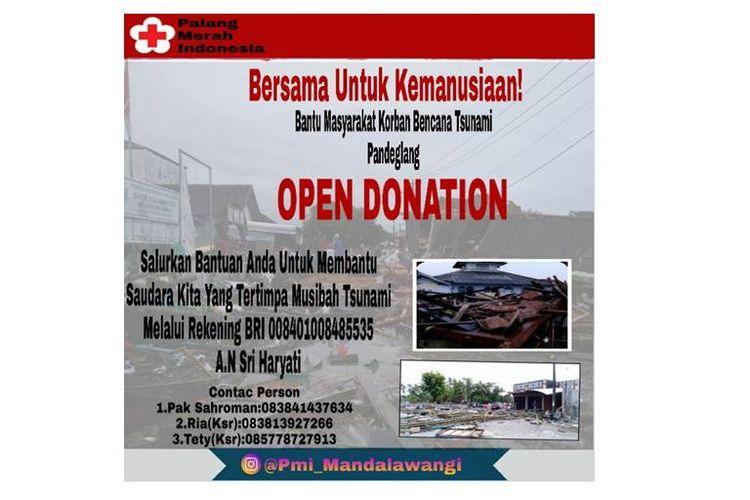 Donasi dari PMI Mandalawangi untuk korban terdampak tsunami Banten-Lampung