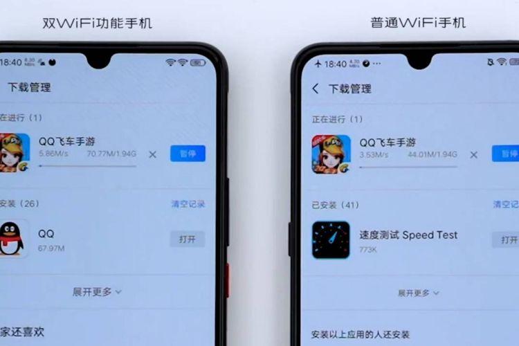 Ilustrasi fitur Dual Wi-Fi di ponsel Vivo iQoo.