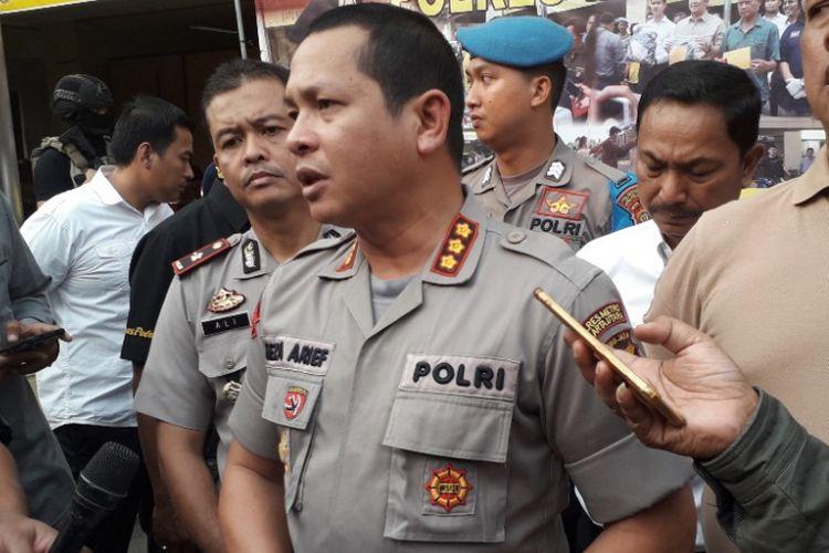Kapolres Metro Jakarta Utara Kombes Reza Arief Dewanto dalam konferensi pers di Mapolres Metro Jakarta Utara, Rabu (11/7/2018).