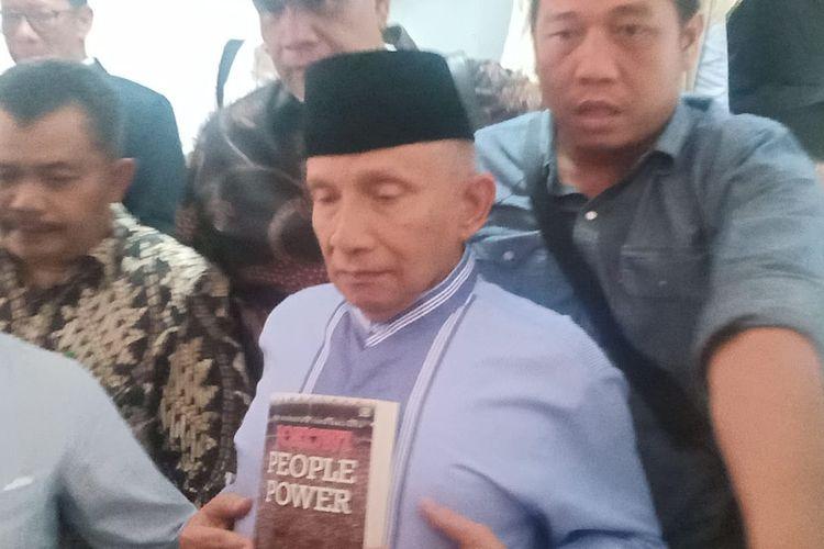 Anggota Dewan Pembina Badan Pemenangan Nasional (BPN) pasangan Prabowo Subianto-Sandiaga Uno,Amien Rais memenuhi panggilan kedua penyidik Polda Metro Jaya, Jumat (24/5/2019).