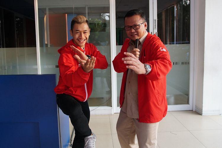 Hanifan Yudani Kusumah (kiri) dan manajer kontingen tim pencak silat Indonesia di Asian Games 2018, Edy Prabowo, saat bertandang ke studio Kompas TV, Kamis (30/8/2018) petang.