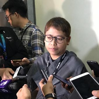 Kepala Bagian Pemberitaan dan Publikasi KPK, Yuyuk Andriati Iskak, di Gedung Merah Putih KPK, Jakarta Selatan, Selasa (23/10/2018).
