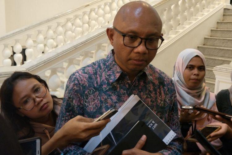 Direktur PT MRT Jakarta William Sabandar di Balai Kota DKI Jakarta, Selasa (16/1/2018).