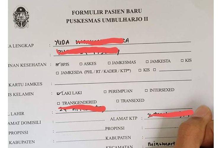 Foto formulir pasien baru di Puskesmas Umbulharjo II yang tertera ada lima jenis kelamin.