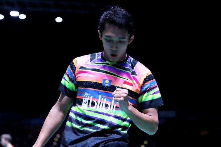 Pebulu tangkis tunggal putra Indonesia, Jonatan Christie, saat bertanding pada babak pertama All England Open 2019, di Arena Birmingham, Inggris, Kamis (7/3/2019).
