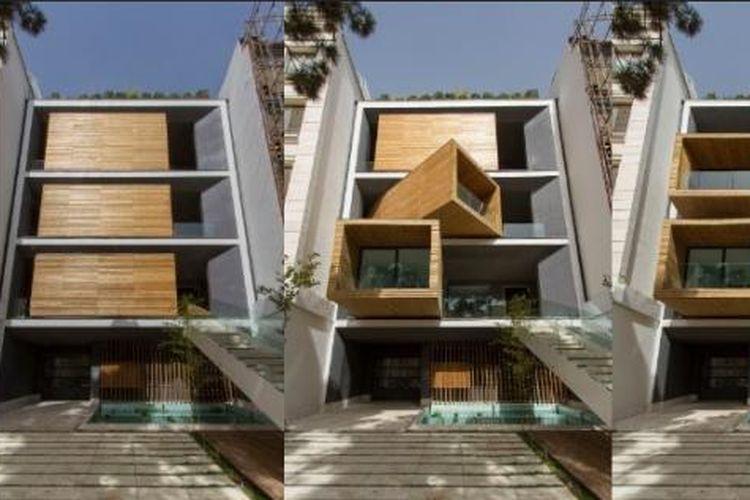 Dengan konsep ruang hidup modular, rumah tersebut dibangun tanpa fasad normal yang ada di bangunan rumah pada umumnya.
