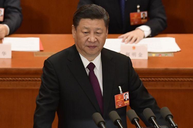 Presiden China Xi Jinping saat menyampaikan pidato di hadapan Kongres Rakyat Nasional di Beijing, 20 Maret 2018.