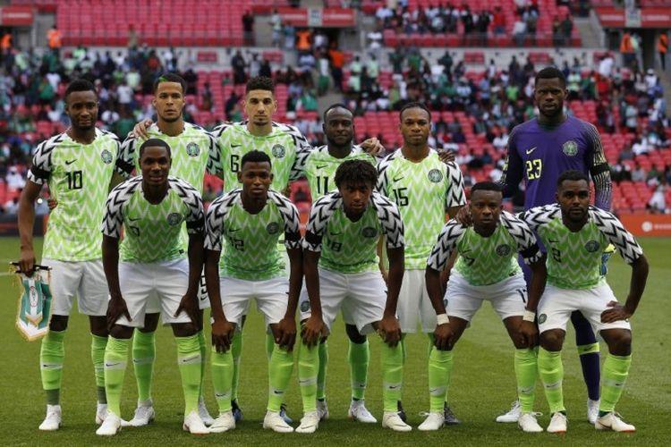 Starter timnas Nigeria saat uji coba melawan timnas Inggris di Stadion Wembley, 2 Juni 2018.