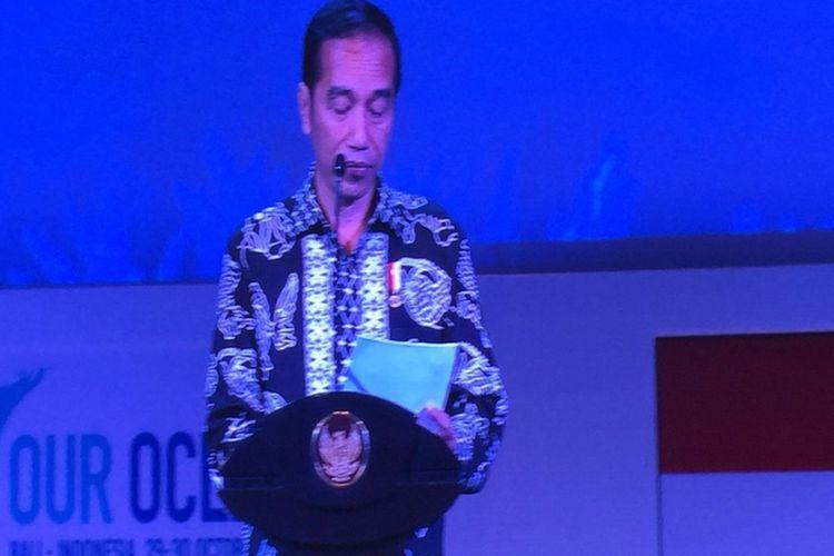 Jokowi memberi pidato pembukaan Our Ocean Conference pada Senin (29/10/2018).