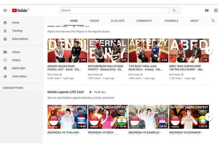 Tangkapan layar akun Youtube Kimi Hime.