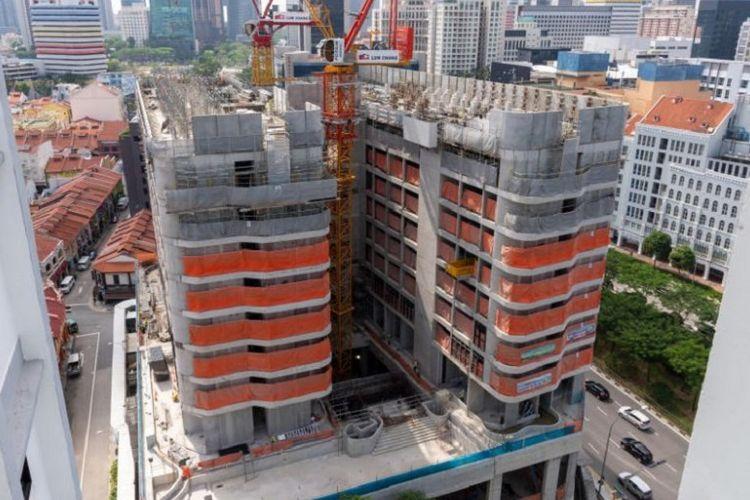 Progres pembangunan Tekka Place di Little India, Singapura.