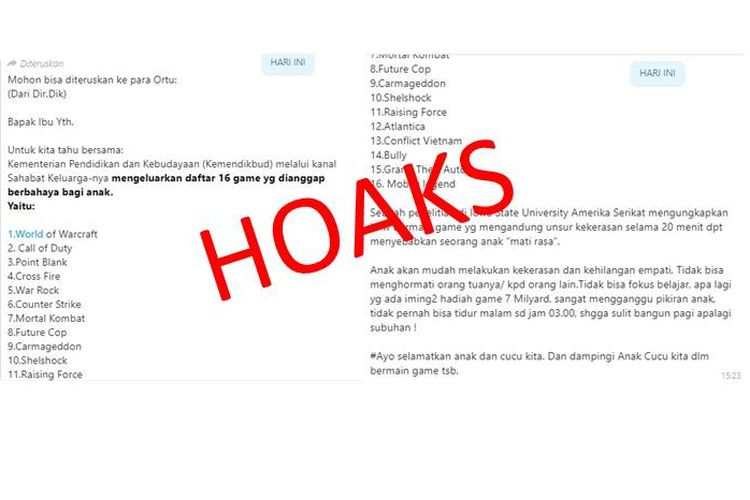 Hoaks Kemendikbud memberikan daftar 16 game yang berbahaya bagi anak-anak yang beredar di media sosial Facebook dan aplikasi pesan WhatsApp.
