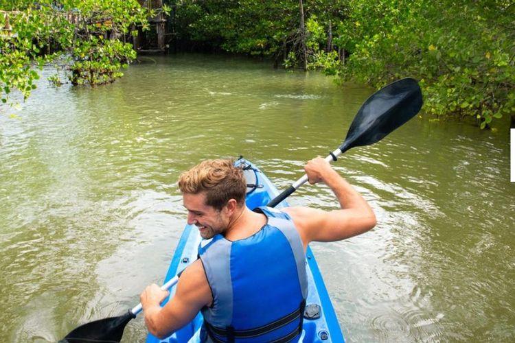 wisman sedang menjelajahi hutan bakau.