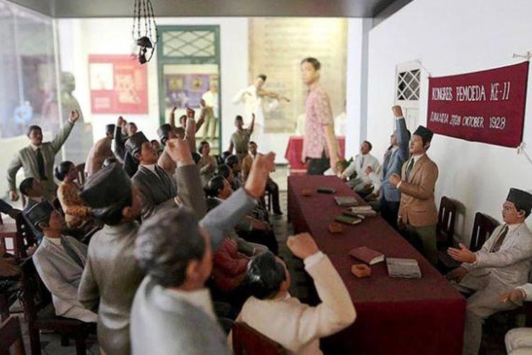 Diorama Kongres Pemuda di Museum Sumpah Pemuda, Jalan Kramat Raya, Jakarta Pusat, Kamis (22/10/2015).