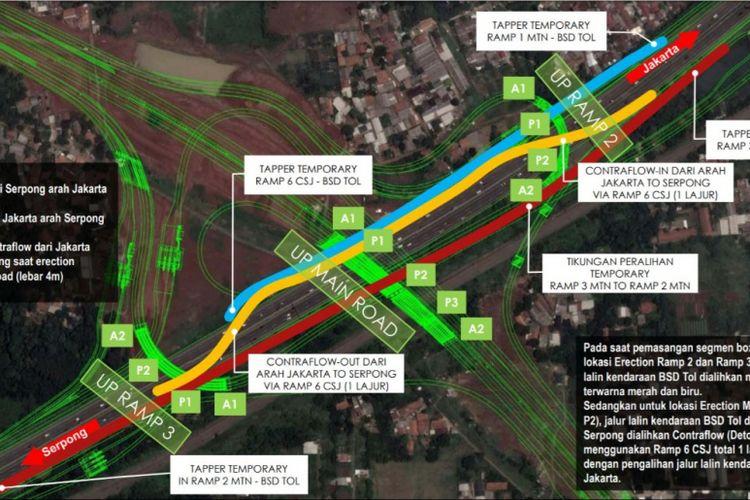 Pengalihan lalu lintas di tol Pondok-Aren Serpong hingga 16 Februari 2019.