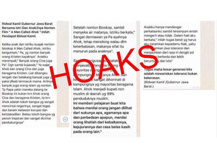Pesan hoaks yang beredar dengan mengatasnamakan Ridwan Kamil di grup-grup WhatsApp.