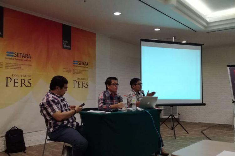 Direktur Riset SETARA Institute Halili dalam paparannya di Hotel Ibis Tamarin, Jakarta, Minggu (31/3/2019).
