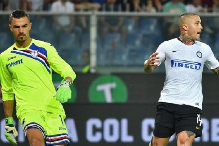 Dua pemain keturunan Indonesia pada laga Sampdoria vs Inter Milan, Emilio Audero Mulyadi dan Radja Nainggolan, dalam lanjutan Liga Italia, 22 September 2018.
