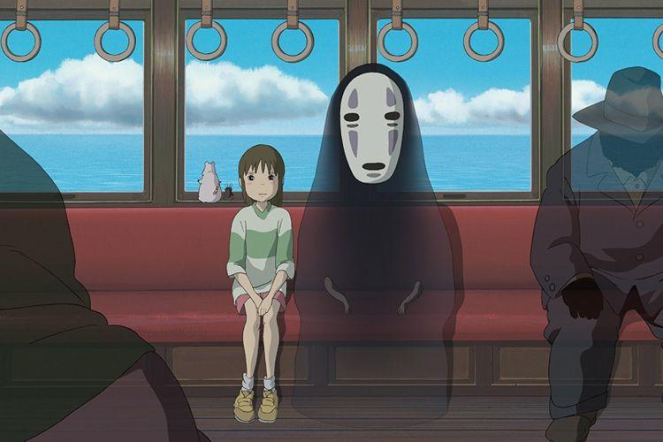 Dua tokoh dalam adegan film garapan Studio Ghibli, Spirited Away. Film produksi tahun 2001 ini meraih Best Animated Feature pada gelaran Academy Award  ke-75 tahun 2003.