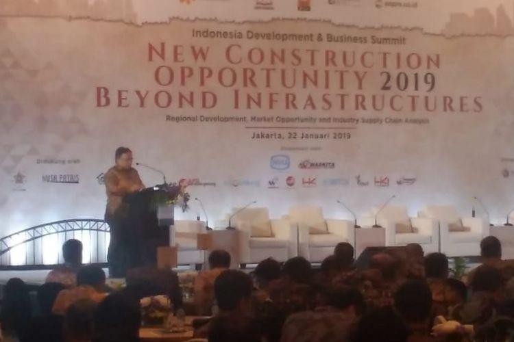 Menteri Perencanaan Pembangunan Nasional (PPN)/Kepala Bappenas Bambang Brodjonegoro dalam acara Indonesia Development and Business Summit New Construction Opportunity 2019 and Beyond Infrastructures di Jakarta, Selasa (22/1/2019).