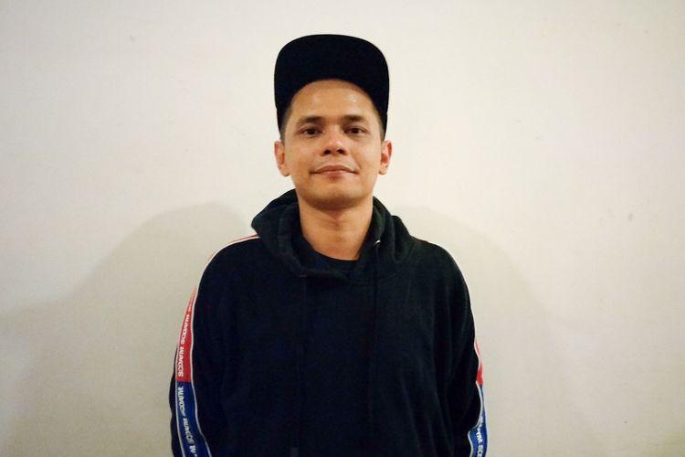 Komika Adjis Doa Ibu yang merupakan project manager Local Stand Up Day 2019 dalam sesi wawancara di Ballroom Kuningan City, Jakarta Selatan, Sabtu (16/3/2019) dini hari.