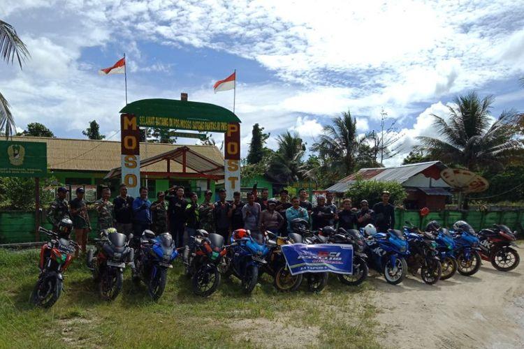 GSX Club Indonesia (GCI) Regional Papua menyerahkan bantuan ke Desa Skow, Jayapura, di perbatasan Papua Nugini, Minggu (31/12/2017).