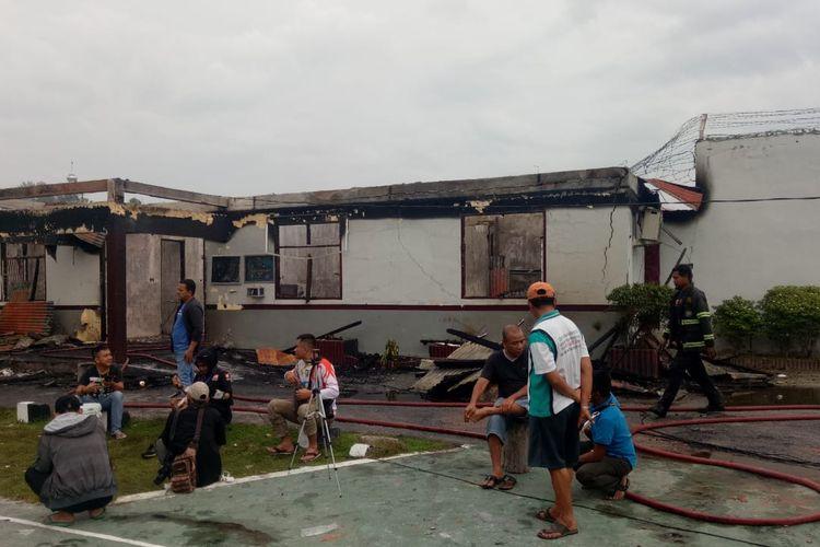 Kondisi di Rutan Kelas IIB Siak Sri Indrapura Pasca-kerusuhan dan pembakaran, Sabtu (11/5/2019).