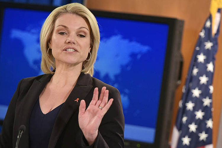 Juru bicara Departemen Luar Negeri AS Heather Nauert menyampaikan keterangan kepada wartawan di Washington DC.