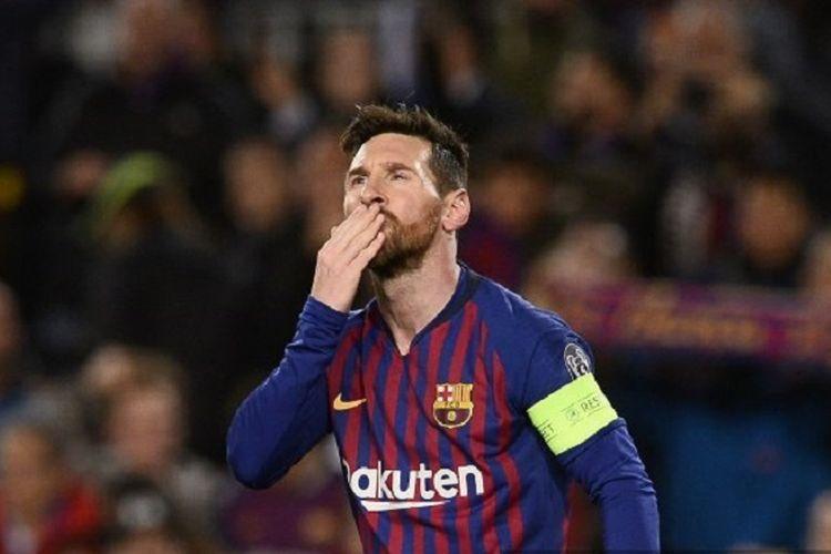 Penyerang Barcelona, Lionel Messi, merayakan gol yang dicetaknya pada babak 16 besar Liga Champions antara Barcelona vs Lyon di Camp Nou, Rabu (13/3/2019) atau Kamis dini hari WIB.