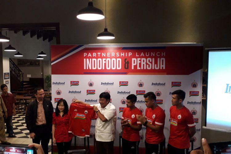 Acara partnership launch kerja sama Persija Jakarta dan Indofood untuk musim kompetisi Liga 1 2019 yang digelar di Jakarta, Kamis (17/1/2019).