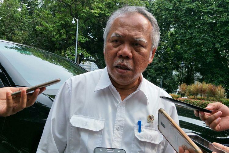 Menteri Pekerjaan Umum dan Perumahan Rakyat Basuki Hadimulyono ketika ditemui di Kantor Wakil Istana Presiden RI, Jakarta, Senin (28/5/2018).
