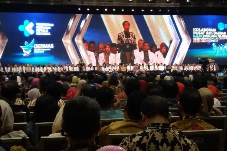 Presiden Joko Widodo saat membuka Rapat Kerja Kesehatan Nasional Tahun 2019 DI ICE, BSD, Tangerang Selatan, Selasa (12/2/2019).