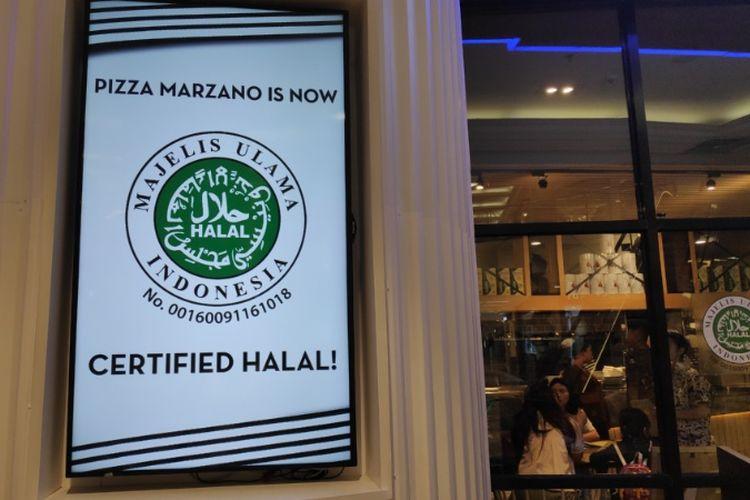 Pizza Marzano mendapat sertifikasi halal dari MUI.