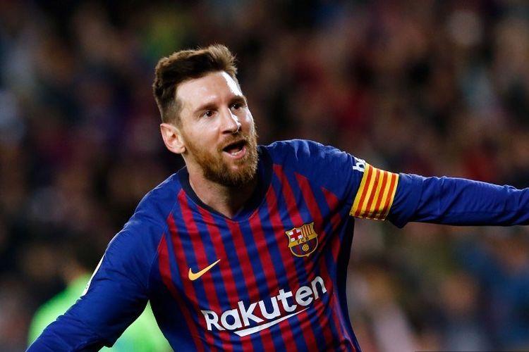 Gol Lionel Messi pada laga Barcelona vs Levante di Stadion Camp Nou dalam lanjutan La Liga mengantarkan timnya menjadi juara Liga Spanyol, 27 April 2019.
