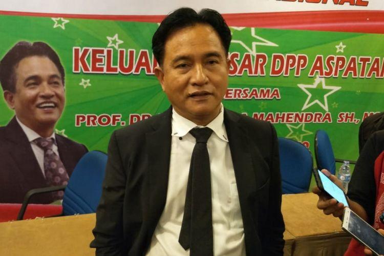 Ketua Umum Partai Bulan Bintang (PBB) Yusril Ihza Mahendra saat ditemui di Hotel Santika, Kota Bekasi, Rabu (30/1/2019).