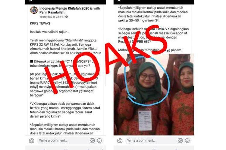 Hoaks anggota KPPS di Bandung, Sita Fitriati meninggal dunia karena diracun zat VX.