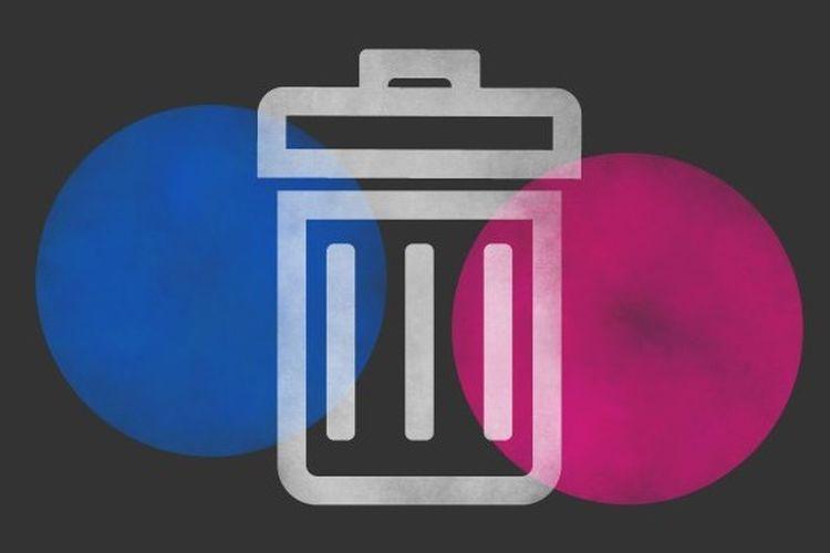 Ilustrasi Flickr dengan lambang trash bin