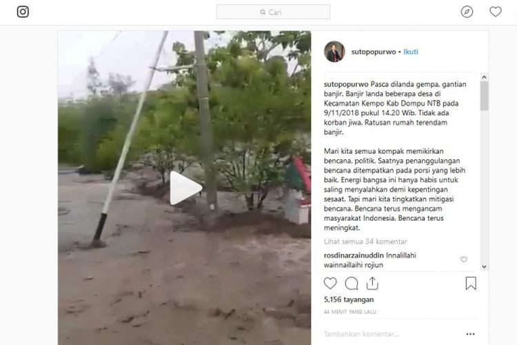 Banjir di daerah Dompu, NTB