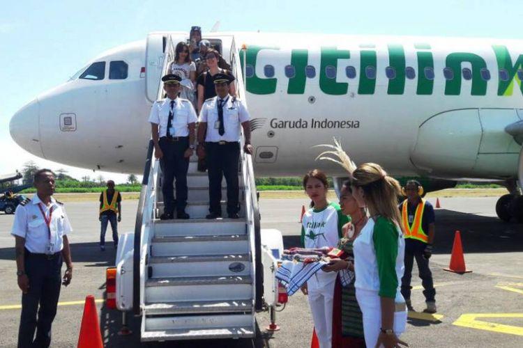 Pesawat Airbus A320 Citilink dengan nomor penerbangan QG 7300 yang dipiloti Captain Irvan Riswanto mendarat mulus di Bandara Presidente Nicolau Lobato, Dili, Timor Leste, Jumat (12/5/2017).