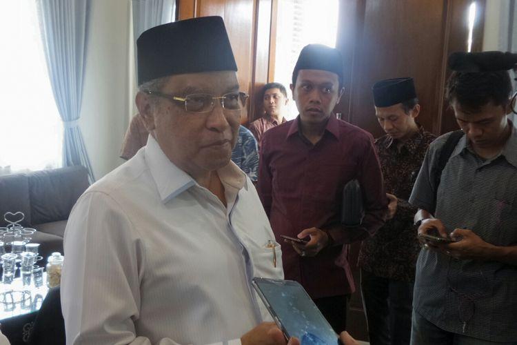 Ketua Umum Pengurus Besar Nahdlatul Ulama (PBNU) Said Aqil Siradj saat ditemui di Pesantren Al-Tsaqafah, Jagakarsa, Jakarta Selatan, Kamis (31/8/2017).