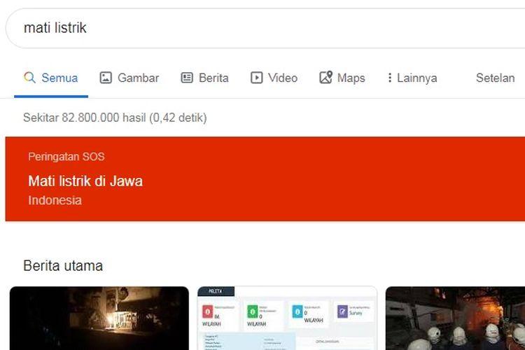 Google menandai kejadian mati listrik di Jawa sebagai peringatan darurat.