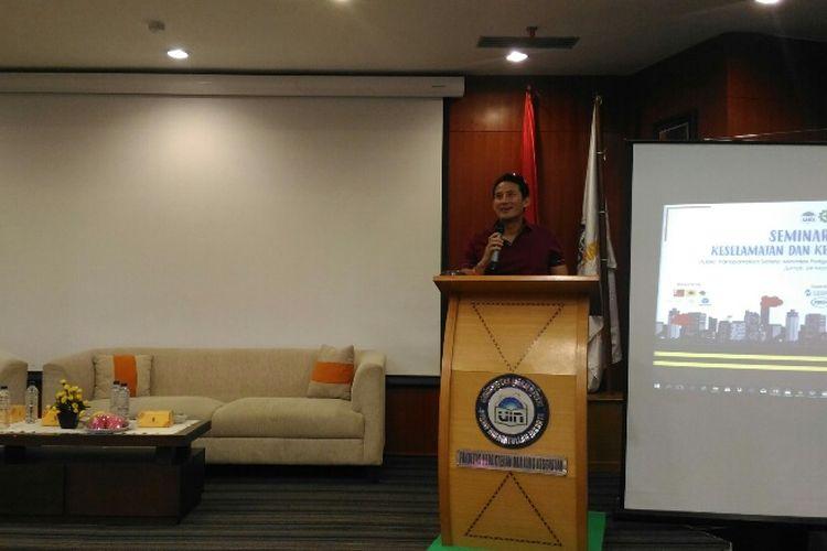 Wakil Gubernur DKI Jakarta Sandiaga Uno saat menghadiri seminar di Auditorium Fakultas Kedokteran dan Ilmu Kesehatan UIN Syarif Hidayatullah Jakarta, Jumat (24/11/2017)