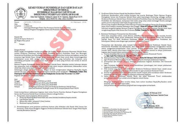 Beredar surat undangan palsu yang mengatasnamakan Kemendikbud di media sosial pada Rabu (6/2/2019).