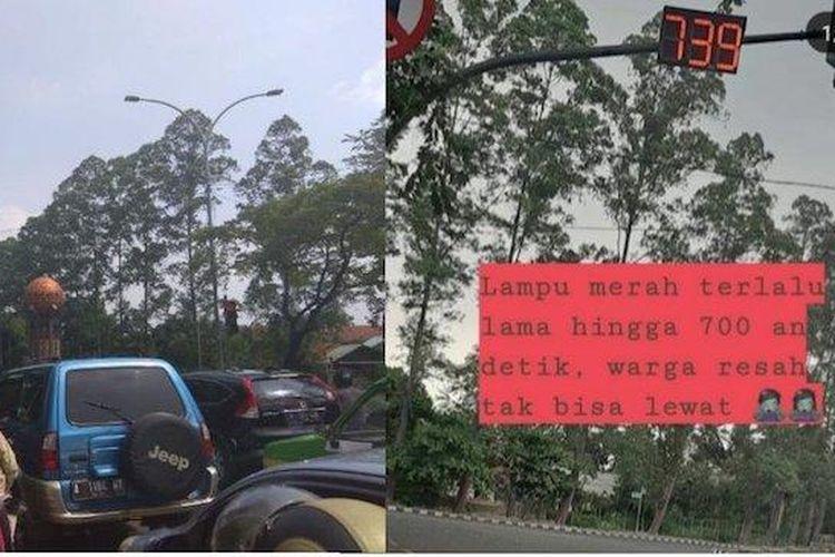 Traffic light di Cikokol, Tangerang, terlihat menunjukkan waktu hingga 739 detik dan menjadi viral di media sosial.