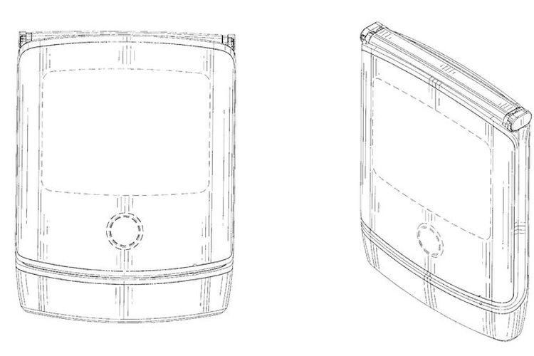 Rancangan bentuk ponsel lipat Motorola Razr.