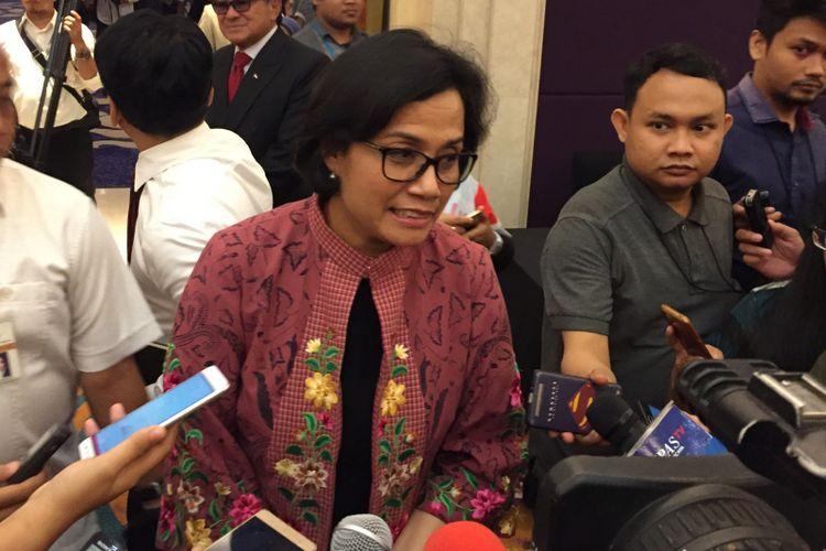 Menteri Keuangan Sri Mulyani Indrawati saat ditemui di Hotel Raffles, Jakarta Selatan, Senin (4/12/2017).