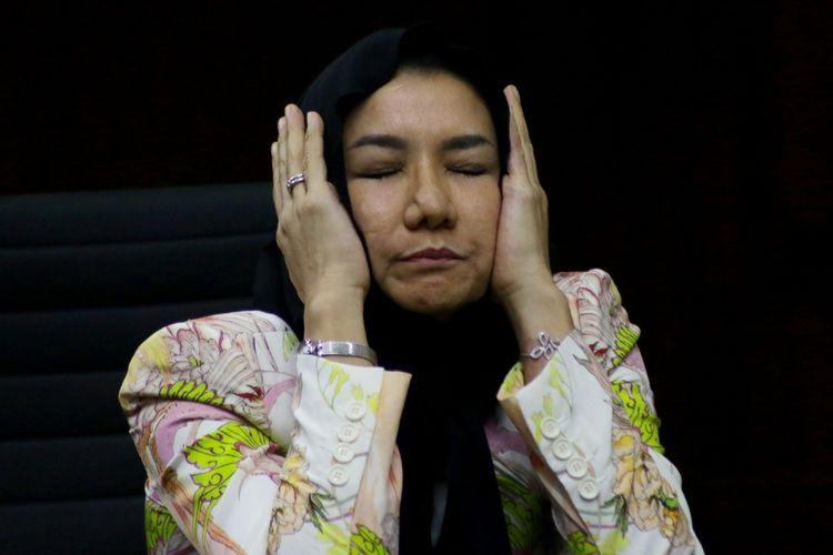 Terdakwa kasus suap pemberian izin lokasi perkebunan di Kutai Kartanegara Rita Widyasari menjalani sidang lanjutan di Pengadilan Tipikor, Jakarta, Rabu (30/5). Sidang tersebut beragendakan mendengarkan keterangan saksi.