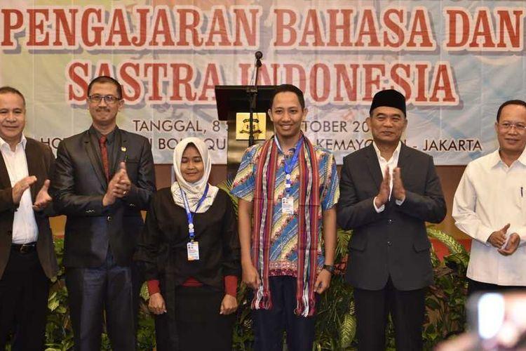 Muhadjir Effendy saat membuka Kongres Asosiasi Guru Bahasa dan Sastra Indonesia (AGBSI) 2018 di Jakarta, (8/10/2018).