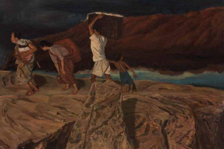 Mengungsi, S Sudjojono, 104 x 144 cm, 1950, cat minyak di kanvas.